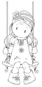 Girl on Swing Free Digital Stamp