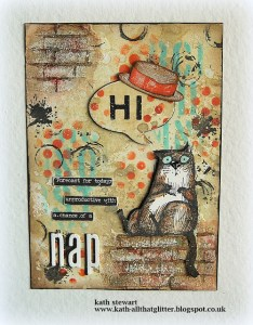 Funny Cat Mixed Media Journal Page