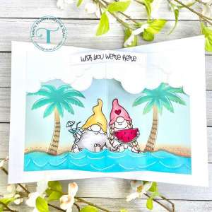 Gnomes on the Beach Pop Up Card