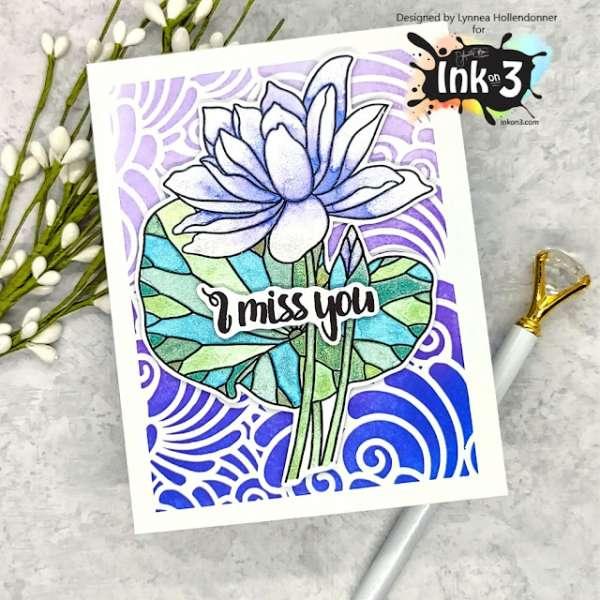 Shimmer Watercolor Lotus Card