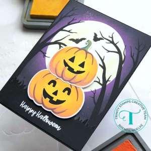 Stenciled Halloween Pumpkins Card