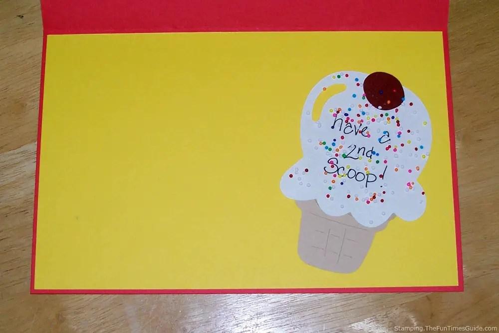Handmade Birthday Card With An Ice Cream Cone & Sprinkles