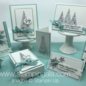 Create these beautiful cards and boxes using Stampin' Up's Snow is Glistening Bundle.