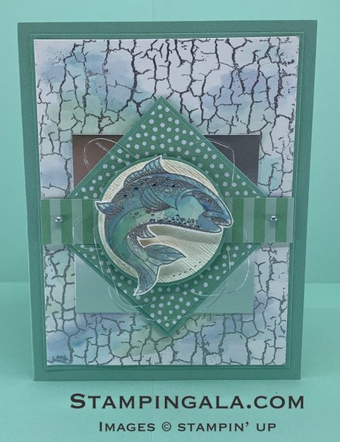 Masculine card featuring Stampin' Up's Best Catch stamp set and Catch of the Day Thinlits Dies.  Silver heat embossed and water colored with an aqua painter.