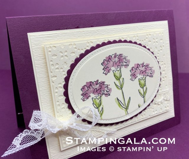 Thinking of you card featuring the Inspiring Iris stamp set, Stitched Lace die & Subtle Embossing Folder.