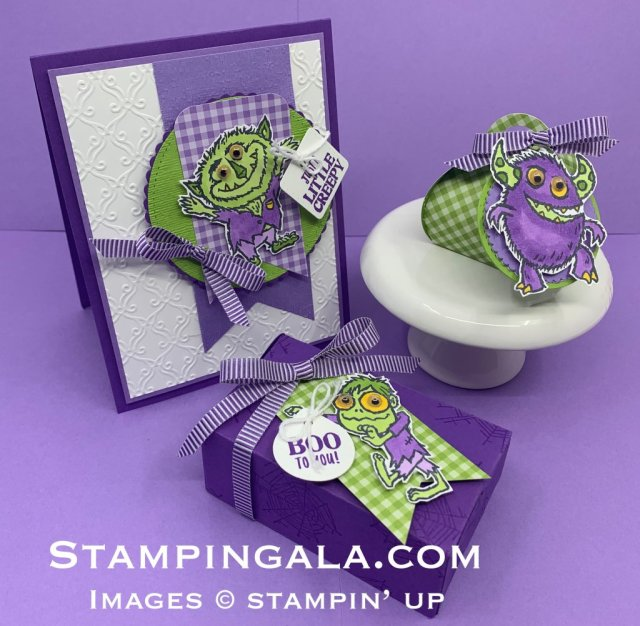 Boo to You stamp set, Halloween card and treat holders, Mini Curvy Keepsakes Box, Perfect Parcels Die