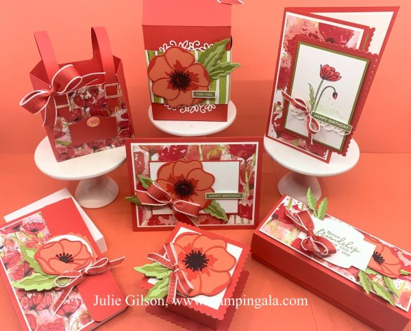 Painted Poppies & Peaceful Moments Class to Go, #Stampin' Up, #Stampin' Gala, #3D, Step-by-step directions