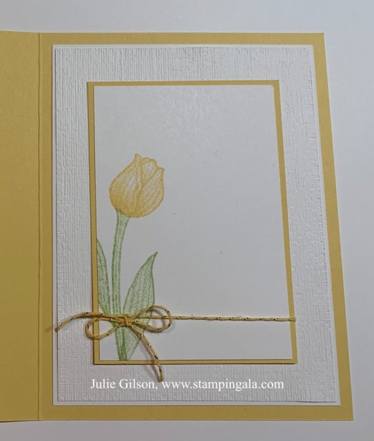 Greeting card featuring the Timeless Tulips stamp set.  #Stampin' Up, #Stampin' Gala, #Fun Fold