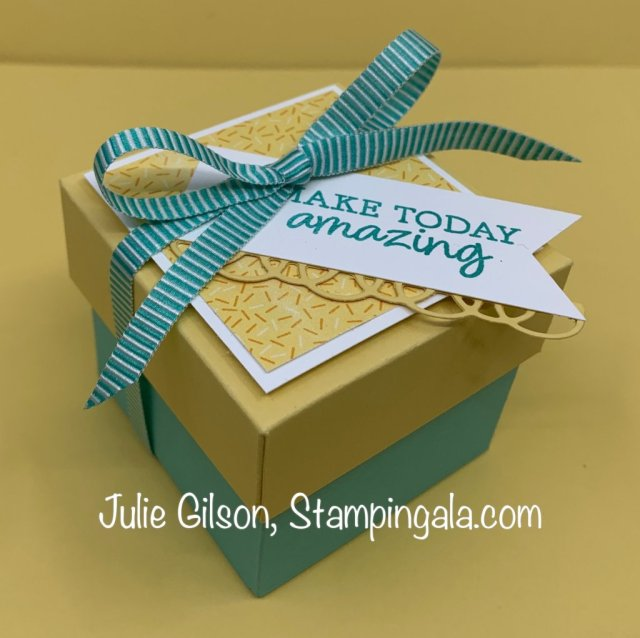 Greeting cards & treat holder/box for Facebook Live using the Rise & Shine Stamp Set. #SAB, #Stampin' Up, #Stampin' Gala, 3-D