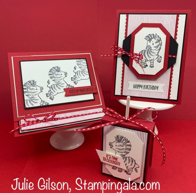 Birthday cards and treat holder using the Zany Zebras stamp set. #Stampin' Up, #Stampin' Gala, #Julie Gilson, #Children's Parties, #Treat Holders