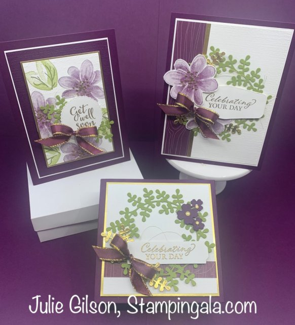 Greeting cards and gift box created with Stampin' Up's! Gorgeous Posies stamp set.  #Stampin' Up!, #Stampin' Gala, #Julie Gilson, #Blackberry Bliss, #3D, #Get Well Card, #Birthday, #Wedding