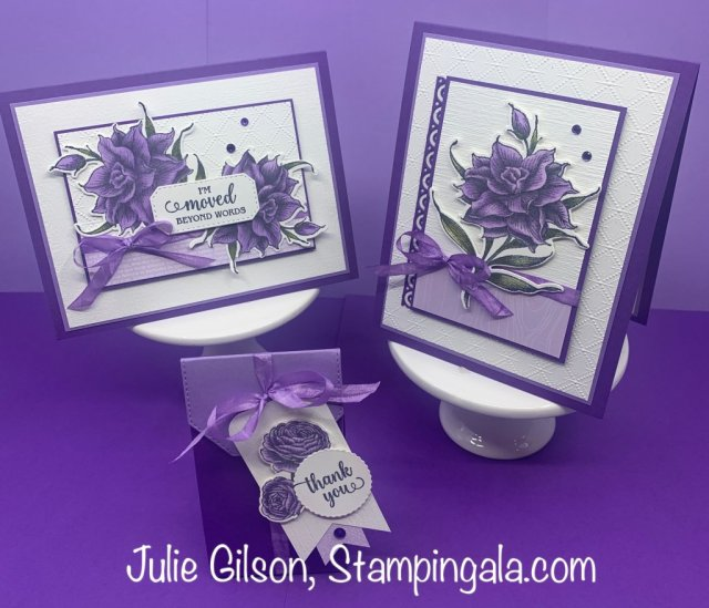 Greeting cards and treat holder created with the Flowering Blooms Stamp Set and Bundle. #Stampin' Up, #Stampin' Gala, #Julie Gilson, #Birthday Cards, #Thank You Cards