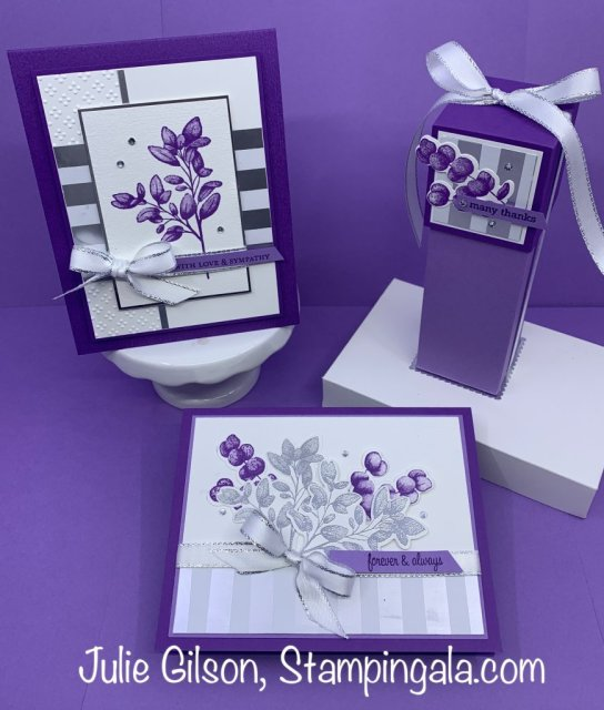 Forever Fern greeting cards and gift box created with the Forever Fern bundle.  #Stampin' Up, #Stampin' Gala, #Sympathy, #Wedding, Thank you, #Gift Box, #Handmade cards
