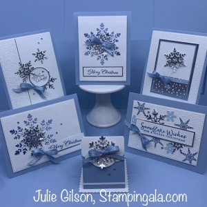 Class in the Mail featuring Stampin' Up's Snowflake Wishes Bundle. #Stampin' Up, #Stampin' Gala, #Christmas Cards, #Treat Holders