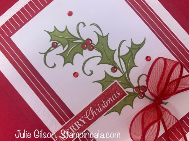 Christmas cards and gift box created with Stampin' Up's Joyous Holly stamp set. #Stampin' Gala, #handmade cards, #box