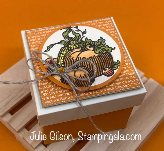 Greeting card & treat holders created with Stampin' Up's Autumn Goodness Bundle. #Stampin' Gala, #DYI, #Handmade cards, #Fall Projects, #Thanksgiving Projects