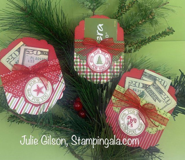 12 Day of Christmas Projects created by Julie Gilson, Stampingala.com.  #Stampin' Up, #Treat Holders, #Christmas Crafts, #DYI, #Stocking Stuffers, #Gift Card Holder