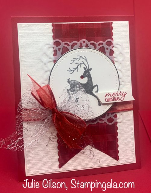 Christmas Cards and Treat Holder created with Stampin' Up's Festive Post Stamp Set.  #Facebook Live,  #Julie Gilson, #Stampin' Gala, #Handmade cards
