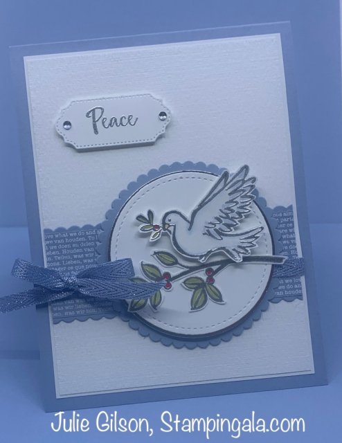 Christmas card created with Stampin' Up's! Dove of Hope stamp set. #Stampin' Gala, #Christmas Cards, #Dove of Hope, #Handmade Cards