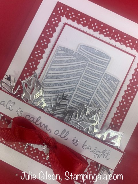 Christmas card created with Stampin' Up's Sweetest Time stamp set and Sweetest Borders Dies.  #Stampin' Up, #Stampin' Gala, #Heat Embossing, #Handmade Cards