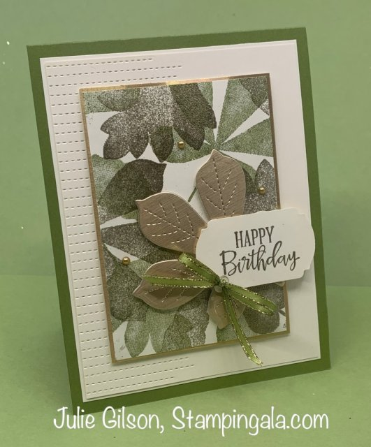 Handmade cards and treat holder created with Stampin' Up's Love of Leaves Bundle. #Stampin' Gala, #Treat Holder, #Place cards