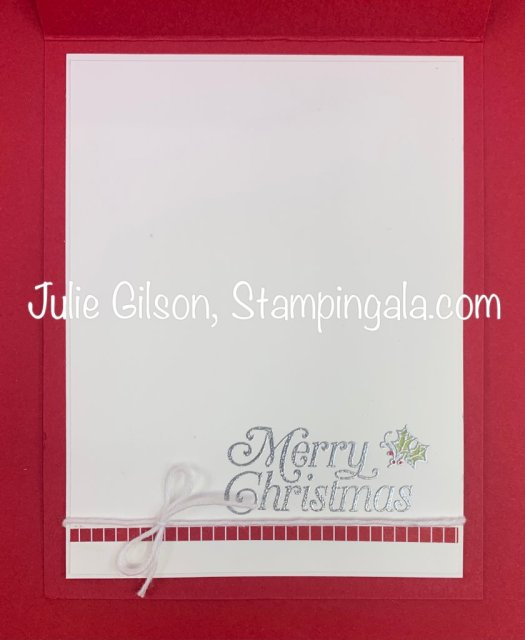 Christmas card created with Stampin' Up's Gift Wrapped Bundle. #Stampin' Up, #Stampin' Gala, #Christmas Projects, #Handmade Cards