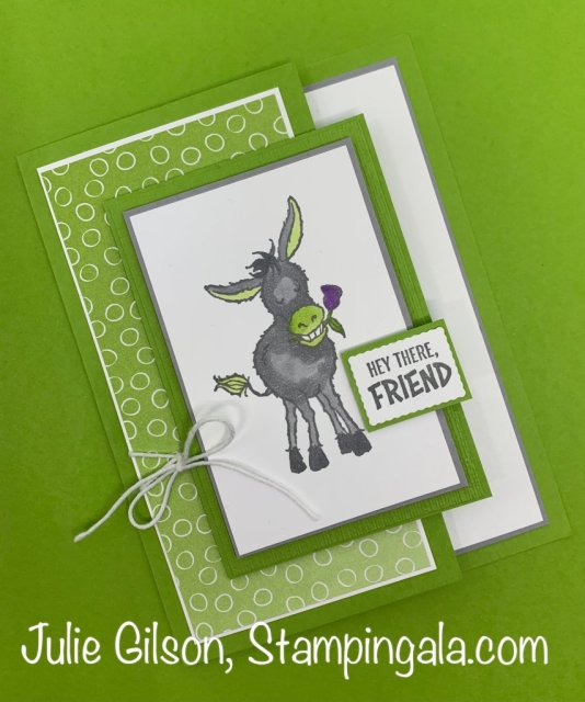 Greeting cards & treat holder created with Stampin' Up's Darling Donkey stamp set. #Stampin' Up, #Stampin' Gala, #Sale-a-Bration, #Fun Fold, #Handmade card