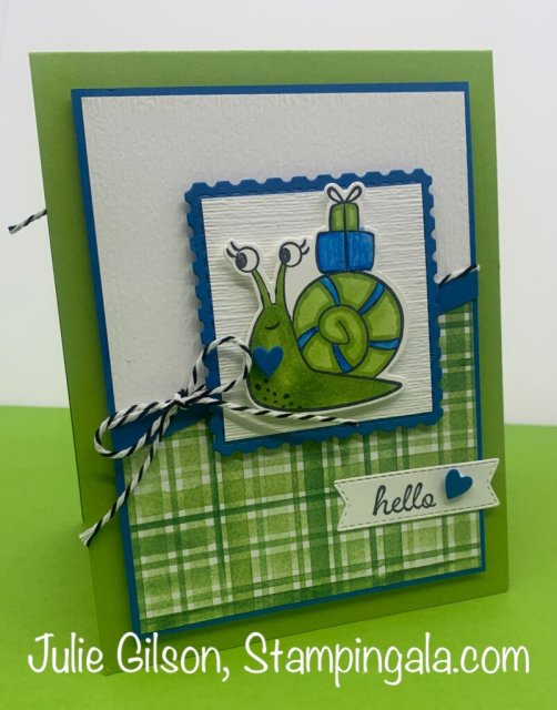 Greeting cards and treat holder created with Stampin' Up's Snailed It Bundle.  #Stampin' Up, #Stampin' Gala, #Birthday, #Valentine's Day, #Children's Cards