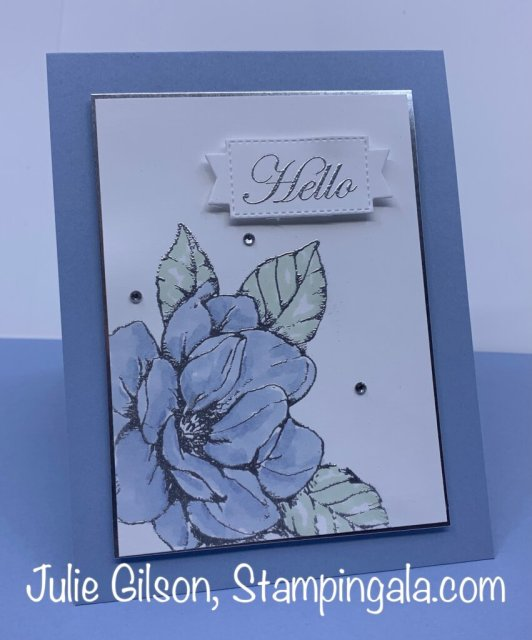 Greeting card created with the Good Morning Magnolia stamp set. #Stampin' Up, #Stampin' Gala, Retiring Colors, #Handmade Card, #Heat Embossing