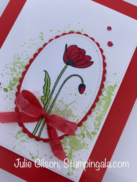 Greeting card created with the Painted Poppies stamp set and Painted Labels Dies.  #Stampin' Up, #Stampin' Gala, #Julie Gilson, #Handmade cards