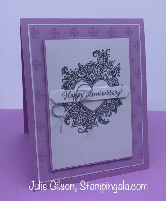 Greeting card created with Stampin' Up's Henna Hearts Stamp Set for Simple Sunday.  #Stampin' Gala, #Julie Gilson, #Heat Embossing, #Handmade Cards