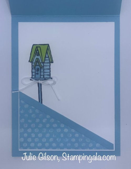 Birthday card created with Stampin' Up's Garden Birdhouses stamp set for Makeover Monday. #Stampin' Gala, #Julie Gilson, #DYI, #Crafts, #Handmade cards