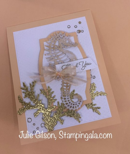 Thank you card created with Stampin' Up's Seascape Bundle.  #Stampin' Gala, #Julie Gilson, #Handmade card, #DYI, #Crafts, #Makeover Monday