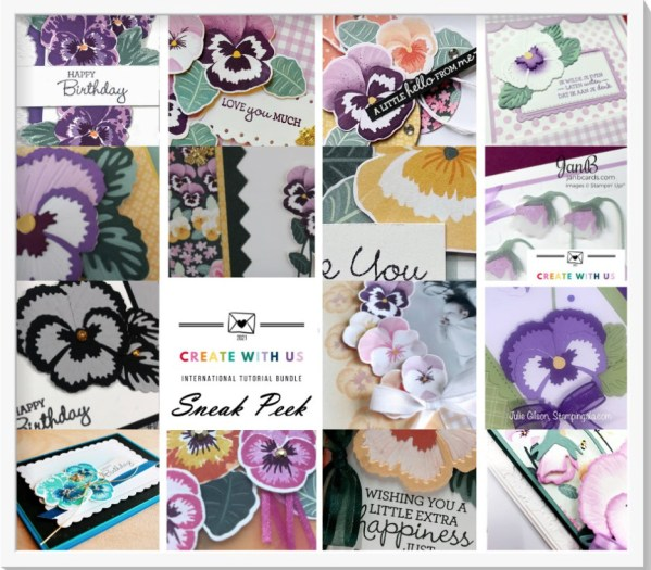 Create 16 beautiful cards with this PDF Tutorial designed by Demonstrators around the world. #Stampin' Up, #Stampin' Gala, #Pansy Petals