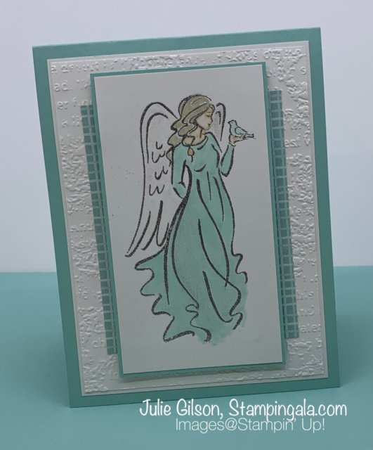 Christmas Card created with Stampin' Up's! Angel of Peace Stamp Set for Simple Sunday.  #Stampin' Gala, #Julie Gilson, #Handmade Cards, #Embossed Cards, #Alcohol Markers