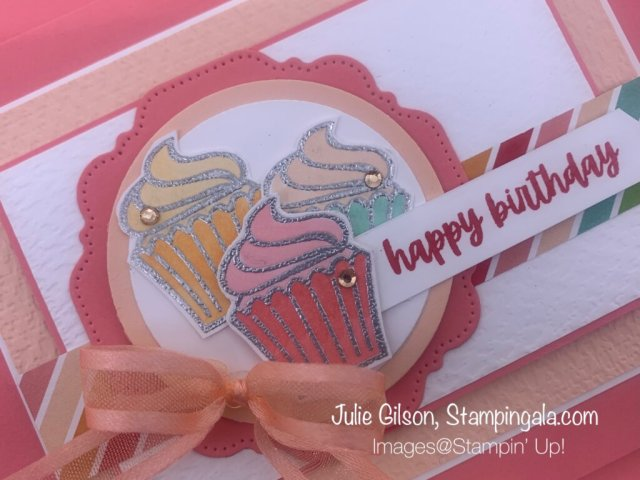 """Create a """"stepped up"""" birthday card using Stampin' Up's! Sweets & Treats stamp set for Makeover Monday.  #Stampin' Gala, #Julie Gilson, #Handmade Cards, #Paper Crafts, #Birthday Cards"""