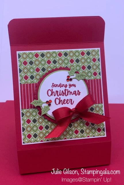Greeting Cards & Box created with Stampin' Up's! Words of Cheer Bundle. #Stampin' Gala, #Julie Gilson, #Christmas Crafts, #Paper Crafts, #3D, #Christmas Cards