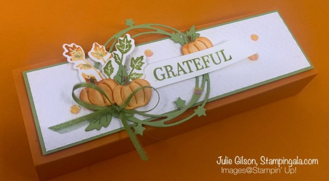 Greeting cards & treat holder created with Stampin' Up's! Seasons of Fun stamp set & Sparkle of the Season Bundle. #Stampin' Gala, #Julie Gilson, #Fall Crafts, #Alcohol Markers, #Halloween Crafts, #Paper Crafts