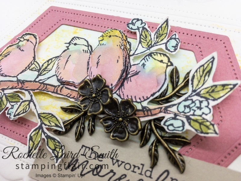 Birds coloured with aqua brushes using ink, Free as a Bird stamp set, Stampin' Up!