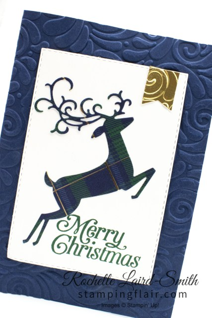 Reindeer handmade card with plaid