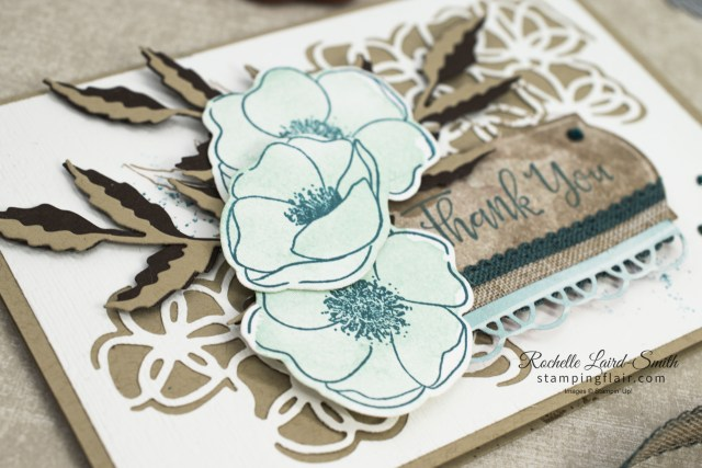 Laser cut look background with poppies handmade card