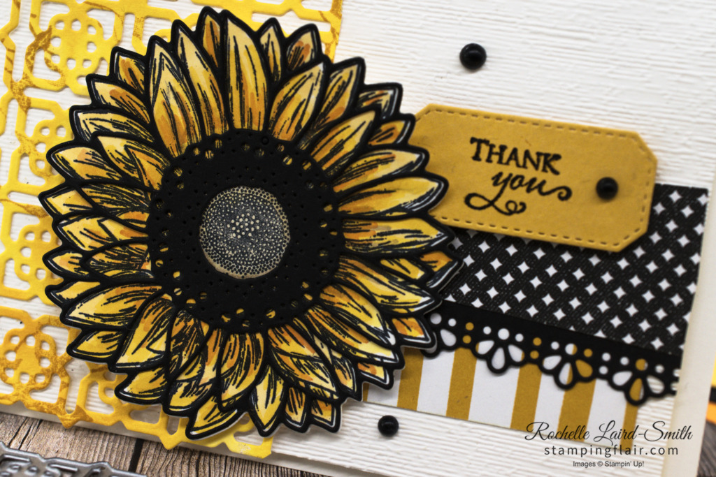Around the World on Wednesday Blog Hop, Awow Blog Hop, April 2021, Monochrome Challenge, Celebrate Sunflowers, Thank you Card, Stampin' up!, SU, Many Medallions Dies