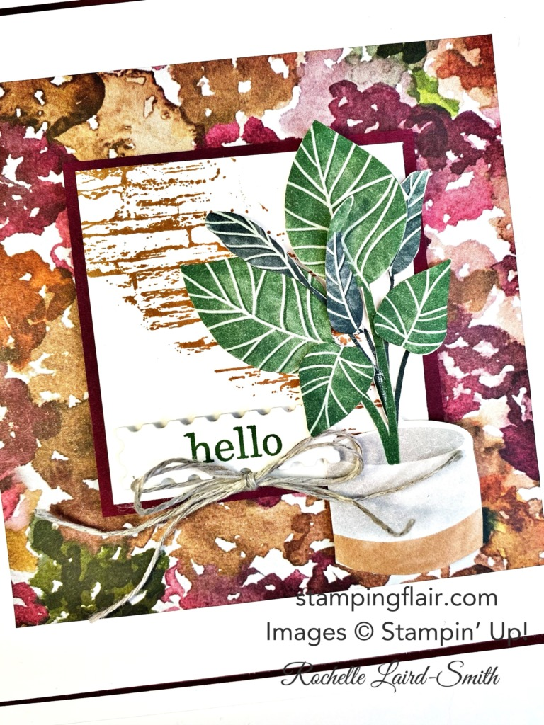 Love your Stampin' Up! Colours, Love your Stampin' Up! colors, FMS492, Freshly Made Sketches, Beauty of the Earth DSP, Bloom Where You're Planted DSP, Hello, Square card sketch, card layout, Artisan Design Team Challenge