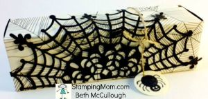 StampinUp Spider Snickers box made with the Envelope punch board, designed by demo Beth McCullough.  Please see more card and gift ideas at www.StampingMom.com #StampingMom