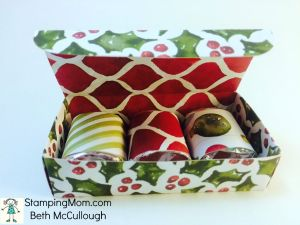 StampinUp Christmas 3 Nugget Box made with the Bow Builder punch, designed by demo Beth McCullough.  Please see more card and gift ideas at www.StampingMom.com #StampingMom