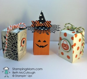 StampinUp Reese's Peanut Butter boxes made with the Gift Box Punch board, designed by Beth McCullough.  Please see more card and gift ideas at www.StampingMom.com #StampingMom