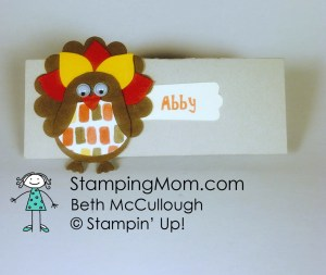 StampinUp Thanksgiving placecards designed by demo Beth McCullough. Please see more card and gift ideas at www.StampingMom.com #StampingMom