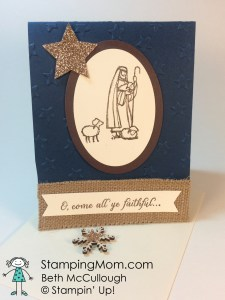 StampinUp Christmas card made with the All Ye Faithful stamp set, designed by demo Beth McCullough. Please see more card and gift ideas at www.StampingMom.com #StampingMom