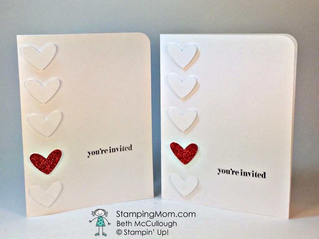 StampinUp Valentine invitation designed by demo Beth McCullough. Please see more card and gift ideas at www.StampingMom.com #StampingMom