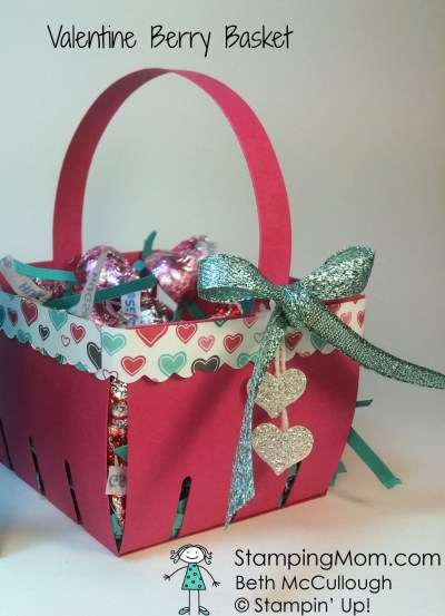 StampinUp Valentine Berry Basket with Hershey's Hugs designed by demo Beth McCullough. Please see more card and gift ideas at www.StampingMom.com #StampingMom